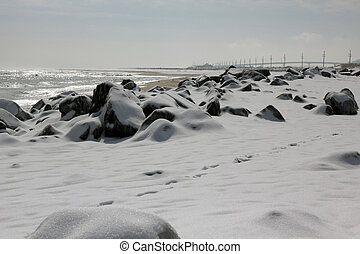 Snow covered beach - Snow covered Sandy Hook Beach...