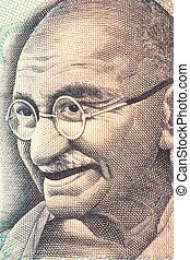 Mahatma Gandhi on Currency Note - Macro image of Mahatma...