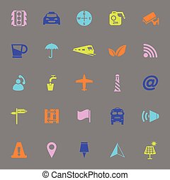 Map sign color icons on gray background, stock vector