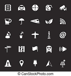 Map sign icons on gray background, stock vector
