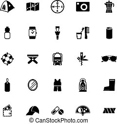 Camping necessary icons on white background, stock vector