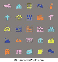 Real estate color icons on gray background, stock vector