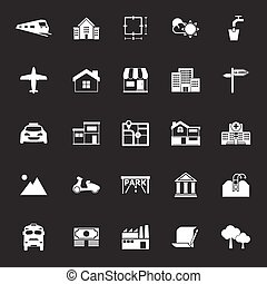 Real estate icons on gray background, stock vector