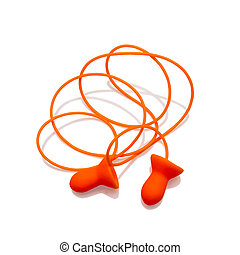 Ear plugs with cord isolated on white background