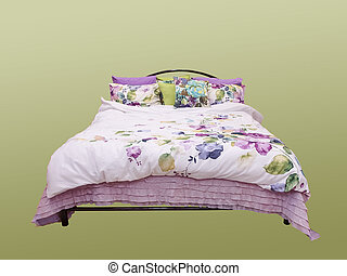 Bed isolated on white background - Bed with colorful duvet...