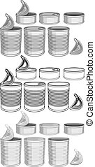 Canned Food Cans Pack - Vector illustration pack of various...
