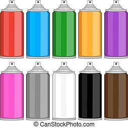 Color Spray Cans In Various Colours - Vector illustration...
