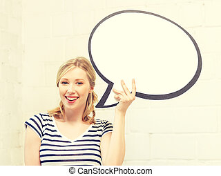 happy teenage girl with blank text bubble - picture of happy...