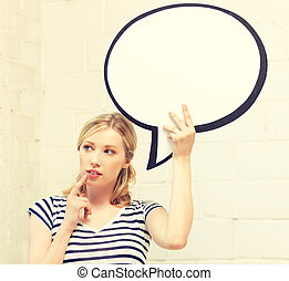 pensive teenage girl with blank text bubble - picture of...