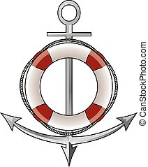 Anchor and lifebelt vector illustration isolated on white...