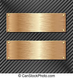 banners - black panel with two golden banners