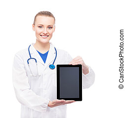 Young and professional woman doctor with an ipad isolated on...