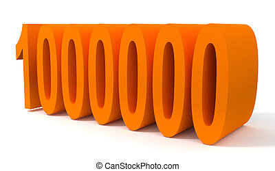 One million - 3d illustration of one million orange