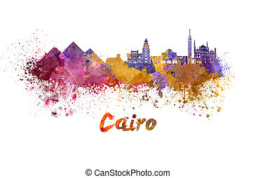 Cairo skyline in watercolor splatters with clipping path
