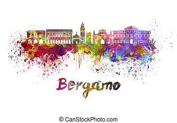 Bergamo skyline in watercolor