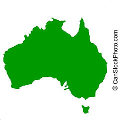 Outline map of Australia and Tasmania in green, isolated on...