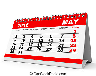 Calendar May 2016 - Calendar May 2016 on white background 3D...