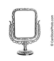 mirror - silver makeup mirror isolated on white background