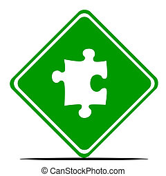 Jigsaw piece road sign - Green jigsaw piece road sign,...