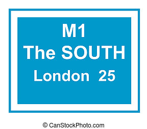 M1 motorway London sign