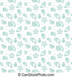 sea shells pattern - Seamless pattern with sea shells vector...