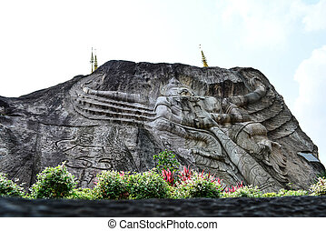 Stone carvings - Carved stone architecture temple Thailand