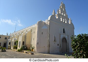 Colonial white washed church, Merida, Yucatan, Mexico