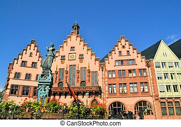 Frankfurt old city Altstadt and Roemerberg is the main plaza...