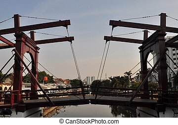 Historic Dutch colonial draw bridge, Jakarta, Indonesia -...
