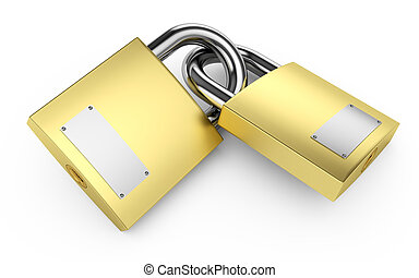 Padlocks - Two closed padlocks on a white 3d illustration