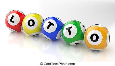 Lotto balls - 3d render lottery color balls