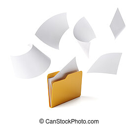 Folder files - Orange folder with a documents isolated on...