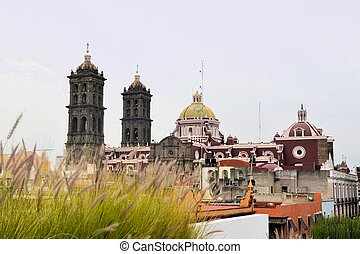 Christian Catholic Colonial Cathedral of Puebla, Mexico -...