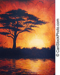 Sunset in africa with a tree silhouette, beautiful colorful...