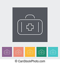 First aid outline icon on the button. Vector illustration.