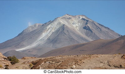 Volcano smoke time lapse - Volcano on the Bolivia - Chile...