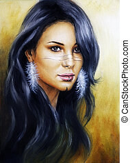 Beautiful illustration portrait of a young enchanting woman...