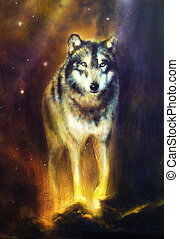 Wolf portrait, walking mighty cosmical wolf, beautiful...