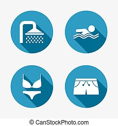 Swimming pool icons Shower and swimwear signs - Swimming...