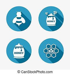 Honey icon Honeycomb cells with bees symbol Sweet natural...