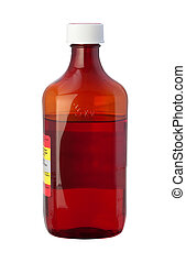 Cough Syrup Medicine Bottle with clipping path isolated on...