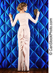 Haute Couture - Full length portrait of a beautiful woman in...