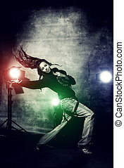 dance expression - Modern hip-hop dancer over grunge...
