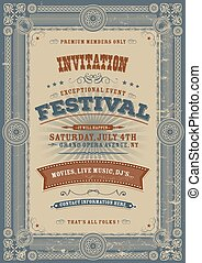 Vintage Holiday Festival Invitation - Illustration of an...