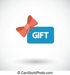 Gift card. Single flat icon on white background. Vector...