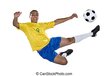 Brazilian Soccer player, jumping