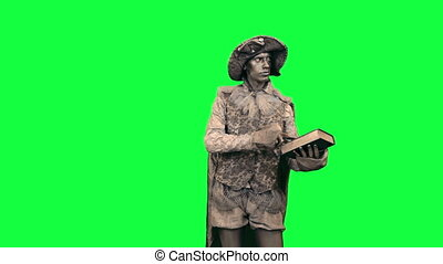 Living statue with a book Chromakey - Iron man with a book...