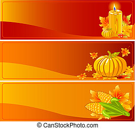 Autumn Banners - Three Funky Thanksgiving and Autumn Web...