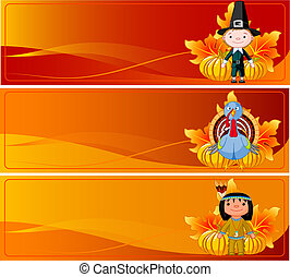 Thanksgiving Banners - Three Cute Thanksgiving and Autumn...