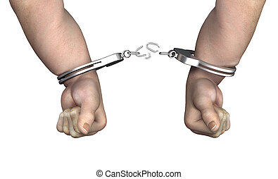 Breaking Free - A man breaking free from his handcuffs - 3d...